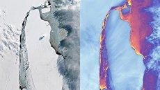 Гигантский айсберг А-68, возникший в результате раскола ледника Ларсена в июле этого года