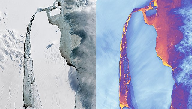 NASA удалось запечатлеть немалый  айсберг, отколовшийся отледника вАнтарктиде