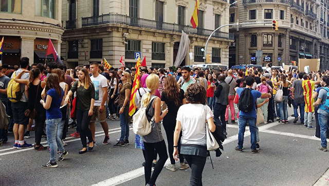 Всеобщая забастовка в Барселоне Испания