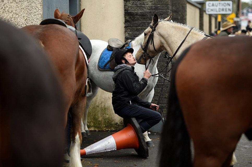 Мальчик целует свою лошадь во время ежегодной ярмарки в Баллинасло, Ирландия