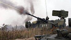 Зенитный ракетно-пушечный комплекс Тунгуска на батальонно-тактических учениях береговых войск Балтийского флота в Калининградской области