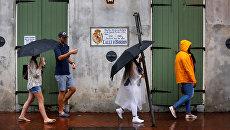 Ураган Нейт подходит к побережью Мексиканского залива в Новом Орлеане, штат Луизиана, США. 7 октября 2017