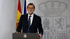 Премьер-министр Испании Мариано Рахой во время выступления. 11 октября 2017