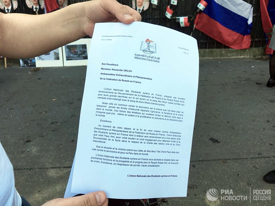 Акция вподдержку действий РФ вСирии проходит встолице франции