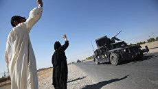 Иракские военные прибывают в первый квартал на южной окраине Киркука. 16 октября 2017