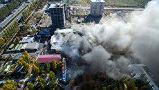 Пожар в бишкекском микрорайоне Асанбай  в Киргизии. 22 октября 2017