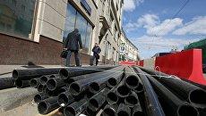 Ремонт водопровода на Большой Лубянке в Москве