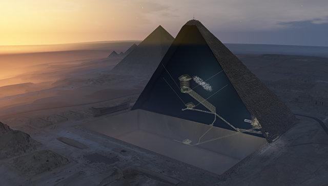 Срез пирамиды Хеопса и предполагаемое место нахождения тайной комнаты