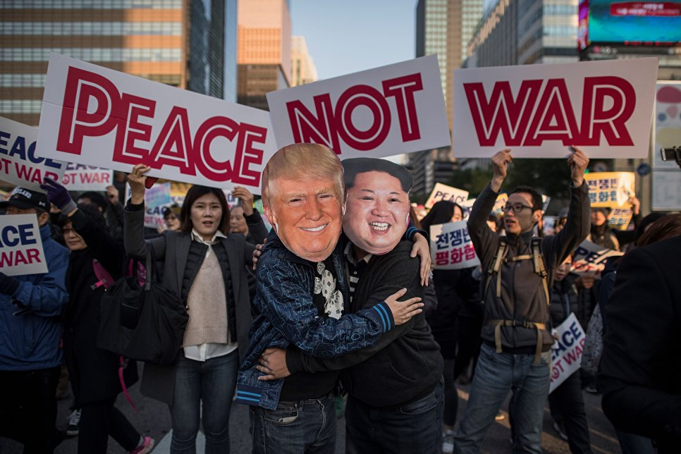 Тысячи человек вышли намитинг вСеуле впреддверии визита Трампа