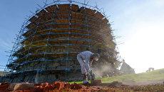 Реставрационные работы одной из башен Соловецкого ставропигиального мужского монастыря