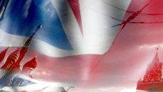 Московский Кремль на фоне флага Великобритании