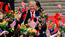 Президент США Дональд Трамп во время визита в Пекин, Китай. 9 ноября 2017