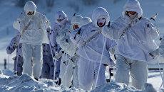 Военнослужащие 61-го отдельного полка морской пехоты Северного флота во время марш-броска. Архивное фото
