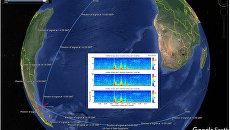 Визуализация гидроакустической аномалии похожей на взрыв, зафиксированной 15 ноября в районе исчезнования подлодки  Сан-Хуан