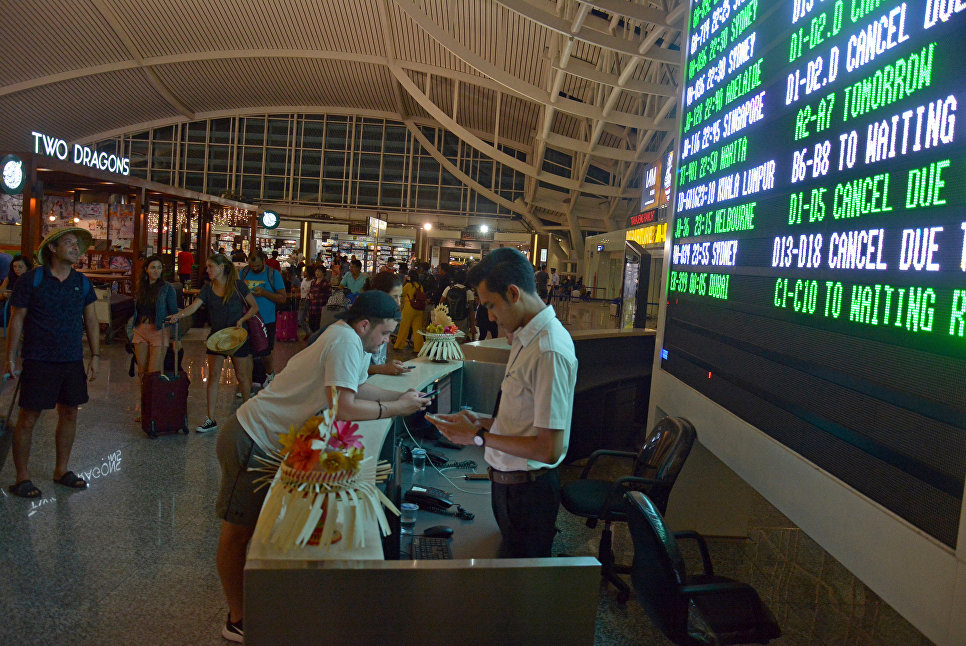 Ситуация в аэропорту Нгурах-Рай на Бали, Индонезия