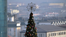 Украшение елочными игрушками главной новогодней елки в Грозном. Архивное фото