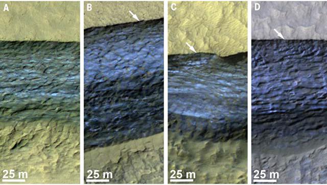 Залежи льда, открытые зондом MRO на поверхности Марса