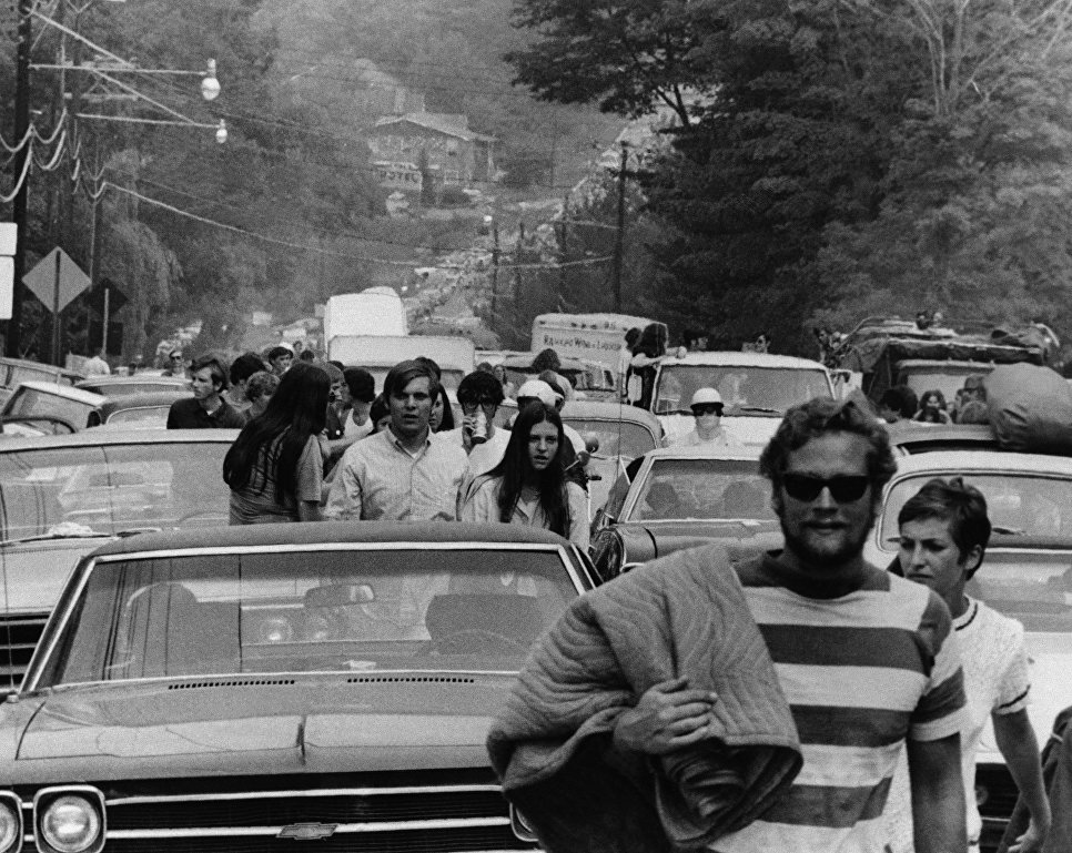 Пробка по дороге на фестиваль Вудсток, 1969 год