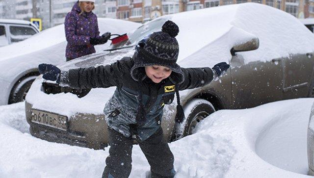 Во время сильного снегопада, архивное фото