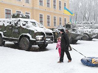 Образцы вооружения и военной техники, находящейся на оснащении украинской армии у здания Национальной академии сухопутных войск им. Петра Сагайдачного во Львове. 3 декабря 2017