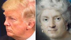Президент США Дональд Трамп и автопортрет Розальбы Каррьеры