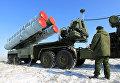 Пусковая установка зенитных ракет комплекса С-400 на территории государственного полигона Капустин Яр