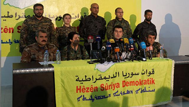 Кено Габриэль, представитель Сирийских демократических сил, зачитывает заявление на пресс-конференции в северной сирийской деревне Айн-Исса. 22 января 2018