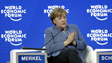 Канцлер Германии Ангела Меркель выступает в рамках ежегодного заседания Всемирного экономического форума в Давосе, Швейцария. 24 января 2018