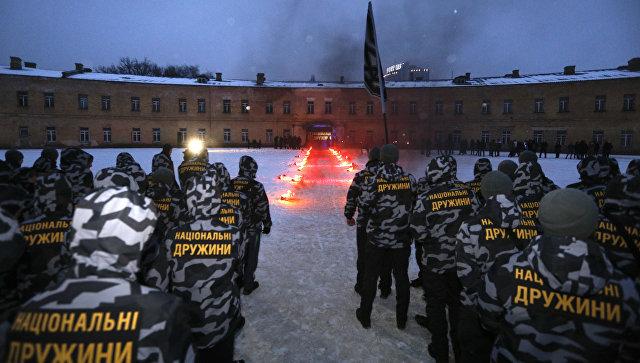 Национальная дружина во время присяги в Киеве. 28 января 2018
