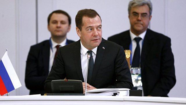 Дмитрий Медведев во время очередного заседания Евразийского межправительственного совета с участием глав правительств стран-участниц ЕАЭС. 2 февраля 2018