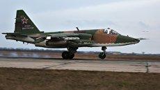 Штурмовик Су-25 во время летно-тактических учений в Краснодарском крае. Архивное фото