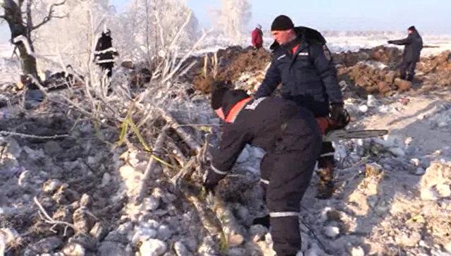 Сотрудники МЧС России на месте падения Ан-148 в Раменском районе Московской области