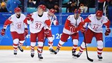 Российские игроки радуются забитой шайбе в полуфинальном матче Чехия - Россия по хоккею среди мужчин на XXIII зимних Олимпийских играх. 23 февраля 2018