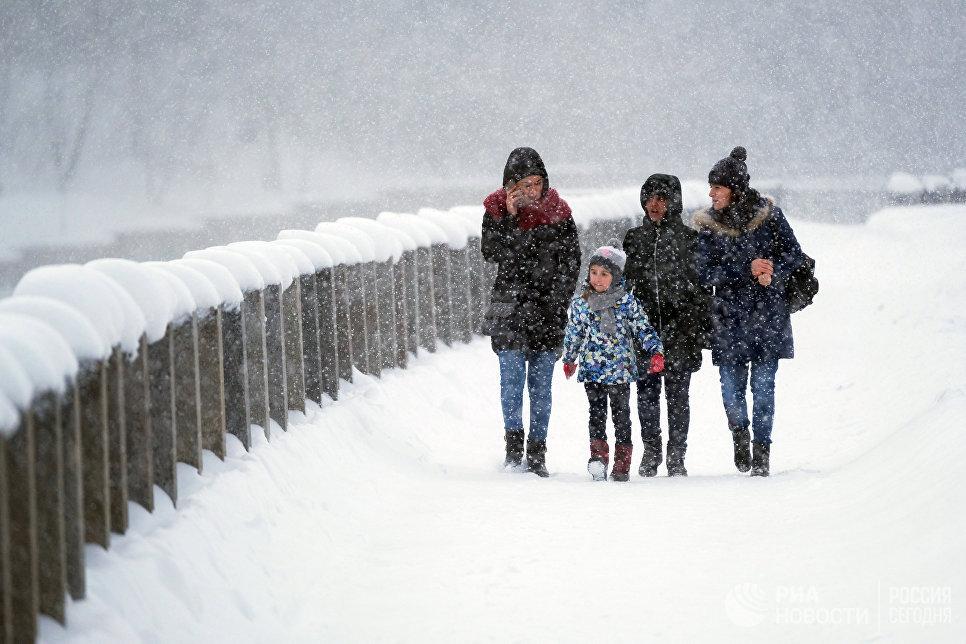 Прохожие во время снегопада на Лужнецкой набережной в Москве