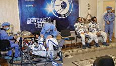 Экипажи провели первую тренировку в ТПК Союз МС-08.  5 марта 2018