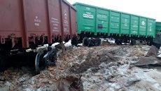 На территории Каменского элеватора товарный поезд сошел с рельсов, Камень-на-Оби. 5 марта 2018