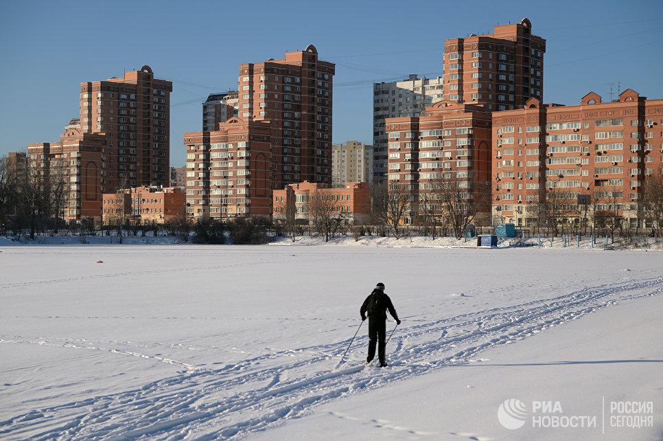 Лыжник у Большого Садового пруда на территории парка Сельскохозяйственной академии имени К. А. Тимирязева в Москве