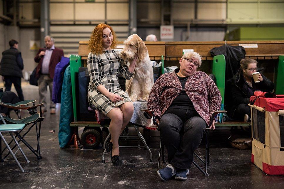 Женщина сидит со своей собакой во время выставки Крафт в Национальном выставочном центре в Бирмингеме, Англия. 11 марта 2018 года