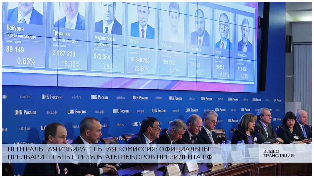 LIVE: ЦИК объявляет официальные предварительные результаты выборов президента РФ