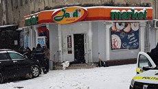 Место взрыва у магазина в Кишиневе