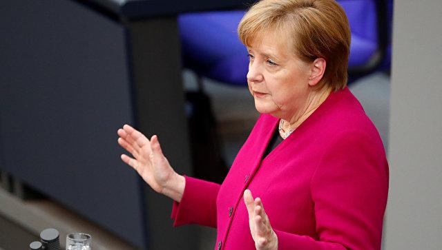 Канцлер Германии Ангела Меркель выступает в Бундестаге, Германия. 21 марта 2018