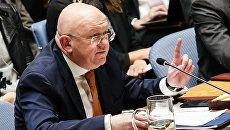 Постоянный представитель РФ при ООН Василий Небензя выступает на открытом заседании совета безопасности ООН. 5 апреля 2018