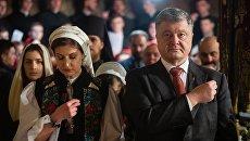 Президент Украины Петр Порошенко с супругой Мариной Порошенко и детьми в церкви. Архивное фото