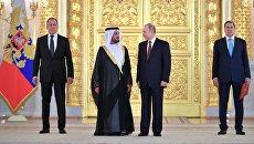Владимир Путин и чрезвычайный и полномочный посол Объединённых Арабских Эмиратов Маадад Хареб Мегейр Джабер Аль-Хейили на церемонии вручения верительных грамот. 11 апреля 2018