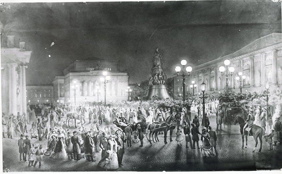 Фонари со свечами Яблочкова на Александринской площади в Петербурге