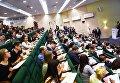 Участники ежегодной образовательной акции по проверке грамотности Тотальный диктант-2018 в аудитории Российской академии народного хозяйства и государственной службы при Президенте Российской Федерации