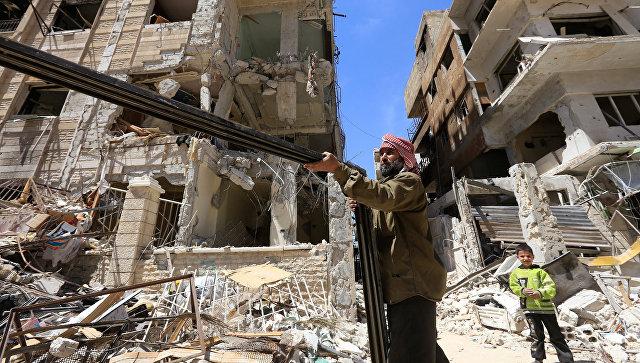 Разрушенные здания в Думе