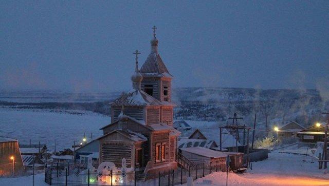 храм в южной Якутии зимой
