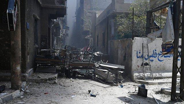 Позиции боевиков в освобожденном лагере палестинских беженцев Ярмук на юге Дамаска. Архивное фото