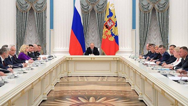 Президент РФ Владимир Путин проводит совещание с членами нового состава правительства РФ. 26 мая 2018